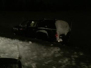 En bil hamnade i diket vid