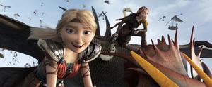 Astrid och Hickes mamma är några av alla roliga vikingabybor som lever i symbios med drakarna i