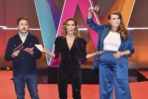 Årets programledare för melodifestivalen: David Sundin, Lina Hedlund och Linnea Henriksson. Foto: Jonas Ekströmer / TT