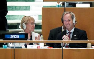 Hur för Sverige en feministisk utrikespolitik i FN:s säkerhetsråd?Bilden från invalet i rådet.Foto: Pontus Lundahl/TT