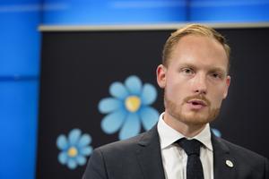 Sverigedemokraternas Aron Emilsson, kulturpolitisk talesperson. Foto: Jessica Gow / TT