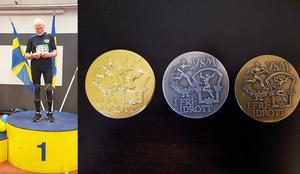 Erik Sjödin vann ett guld, ett silver och ett brons i helgens veteran-SM i friidrott