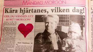1995 kunde man läsa i FP varifrån firandet av alla hjärtans dag kommer. En Marie Danielsson, då 24 år, berättade att hon köpt ett kort till sin kille.
