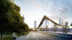 Nya stationen sett från Södra Ringvägen. Sluttande passager och ett gigantiskt tak ska knyta ihop båda sidorna av järnvägen. Det blir också nya cykelvägar och bostadskvarter.                                    Bild: BIG (Bjarke Ingels Group)