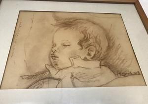 Marit Björklund har alltid tyckt om att måla och teckna. Här en bild av sonen Anders, tecknad 1948.