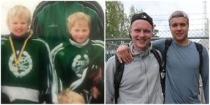 Då och nu. Jens Lööke och Hampus Eriksson i Valbotröjor från tidigt 2000-tal – och till höger ser ni grabbarna som de ser ut idag. Foto: Privat/Amelia Mauritzon