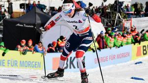 Heidi Weng övertygade stort i den näst sista etappen av Tour de Ski. Bild:  Peter Schneider/TT.