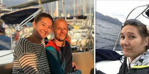 Semesterbilderna från resan visar hur glada Malin och Weine var kvällen innan de seglade iväg, betydligt bistrare miner någon dag senare.  Foto: Privat