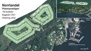 Inom två år kan bygget av sammanlagt 130 bostäder inledas i området på båda sidor av Planmyravägen  mitt emot Huseliiharens småbåtshamn. Illustration: Gävle kommun