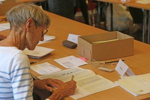 Marianne Jonsson var en av de personer som kontrollerade antalet avprickade personer i röstlängderna.