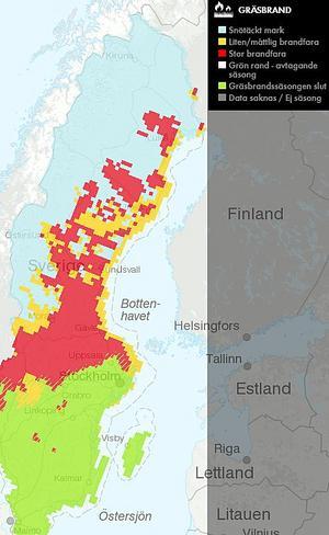 Så här såg risken för gräsbrand ut på tisdagen den 8 maj.