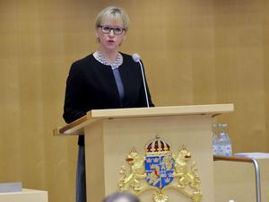 I juli 2018 skriver utrikesminister Margot Wallström (S) en debattartikel där hon särskilt nämner förföljelser av kristna i Mellanöstern. Här är hon i talarstolen i riksdagen i januari och debatterar om Sveriges deltagande i kampen mot IS. Foto: Jonas Ekströmer / TT