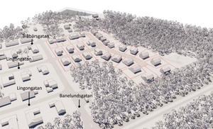3D-vy, från detaljplanearbetet, över hur det kan komma att se ut på Skuggan 4. Illustration: Tengbom