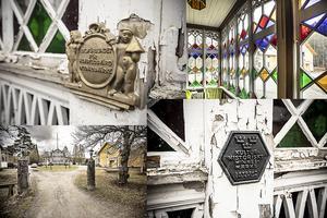 Skyltar vid entrén visar att huset är av riksintresse och är kulturskyddat.