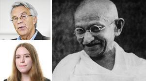 Helena Ståhl (SD) svarar Lennart Bondeson (KD) med flera, om hennes partis syn på konst och kommunala medel. Bägge lutar sig mot Mahatma Gandhi.