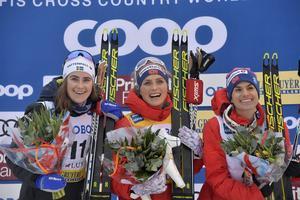 Ebba Andersson, till vänster, blev tvåa på söndagen.