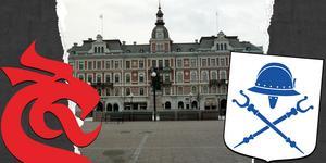 Draken på Hirschka huset är en ny företeelse efter 1888, inspirerad av gamla europeiska symboler, skriver Karin Felländer. Kommunvapnet är betydligt äldre. Grafik: Robin Brinck