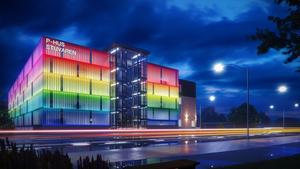 Tanken är att utrusta nya p-huset med en belysning som gör att fasaden kan ändra färg.