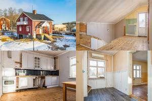 På Bergsmansvägen 13 i Grängesberg ligger det här renoveringsobjektet, en villa från 1930 med öppen spis och garage i källaren.