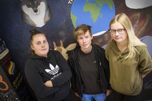 Ella Engstrand, Eleonore Englund och Tilde Strömbom är tre av de tio elever som går andra året på naturbruksprogrammet inriktning djurvård.