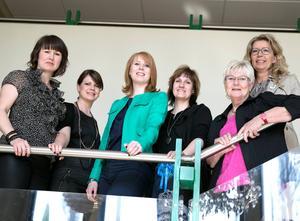 Partiledaren Annie Lööf, med några av de framträdande C-politikerna i Dalarna (Ulrika Liljeberg, Sofia Jarl, Anna Hed,  Gun Drugge och Lena Reyier).
