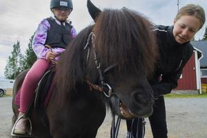 – Hästar är underbara att vara med, de har sina egna personligheter, berättar skötaren Alva Bergström som leder hästen Trolle medan My Gabrielsson sitter i sadeln.