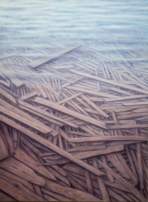 Översvämmade rester av något som kan ha varit byggnader, brädgårdar – en metafor över den hotande klimatkatastrofen. Målning av Anna Norvell.