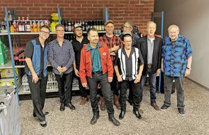 Bakom scenen. Några av Sven Zetterbergs gamla musikerkompisar. Foto: Kent Eriksen/Karlskoga Rock och Bluesförening