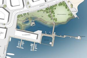 """Man ska kunna gå genom dagvattenparken på spångar och bryggor som binds samman med hamnpiren, badet och """"Midsommarplatsen"""". Bilden visar ett utsnitt. Illustration Sydväst arkitektur & landskap"""