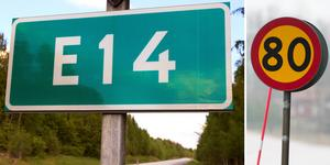 Vilken hastighetsbegränsning som är rätt eller fel låter jag vara osagt, men jag tror ingen pendlare vid torrt väglag mitt på dagen vid normal trafiksituation på E14 mot Sundsvall skulle orka köra 80 eller mindre hela vägen – hur laglig man än försöker vara, skriver signaturen Älgen.