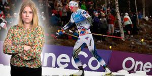 Evelina Settlin under förra helgen i Lillehammer. Idag hade hon en tuff sträcka på stafetten. Camilla Westin listar fem punkter från damernas stafett. Bilden är ett montage.