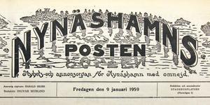 Det ursprungliga tidningshuvudet ritades av Gunnar Norberg. Det fanns kvar på tidningen fram till 1963 då det av trycktekniska skäl byttes ut. Här är det på tidningen den 9 januari 1959.