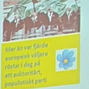 Bilden som fick Sverigedemokraterna att lämna salen och bojkotta resten av demokratidagen.