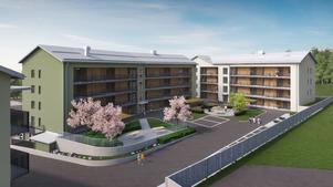 Kungsgården är ett av nio pilotprojekt i Sveriges allmännyta där första steget tas mot en branschstandard för att beräkna klimatpåverkan från byggandet. Illustration: Kopparstaden.