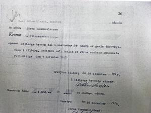 Protokollsutdrag från ett sammanträde med  fullmäktige i Järna kommun 1937.