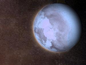 Horace Engdahl skriver om planeten Verkligheten där de människolika invånarna lever i ett ständigt kärleksrus. På bilden ser vi planeten Gliese 581 b i ett främmande stjärnsystem tros kunna hysa liv. Foto: Hervé Piraud