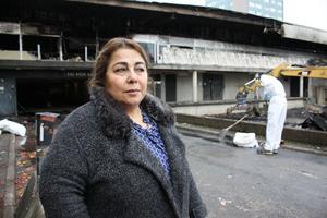 Shahnaz Ghanizadeh, ägare till frisersalongen som totalförstördes.