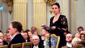 Sara Stridsberg vid Svenska Akademiens årliga högtidssammankomst i december 2016. Hon utträdde i maj 2018. Foto: Henrik Montgomery/TT
