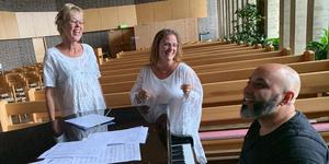 Lena Lundgren, Camilla Jansson-Rönning och Marcus Berglund ska sjunga i Nynäshamns kyrka. Foto: Privat.