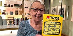 Sonia Holz brast ut i ett glädjetjut när hon skrapade hem en kvarts miljon kronor. Foto: Svenska Spel