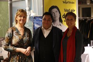 Cecilia Ståhl, vd Telge tillväxt, David Winerdal (KD), kommunalråd, och Elin Lydahl, vd Tom tits.