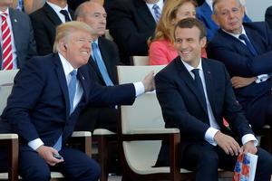 Trots olika åsikter har presidenterna Donald Trump och Emmanuel Macron en god personlig relation.Foto: Michel Euler/AP