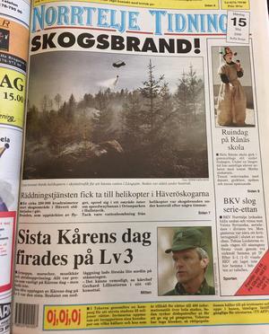 NT:s etta 15 maj 2000. På ettan gick det att läsa att Tobias Lindström visade vägen för sitt BKV Norrtälje mot Valsta Syrianska. Kårens dag firades stort och på Rånäs skola var det Ruindag. Nyhetsdraget: Skogsbrand i Häverskogarna.