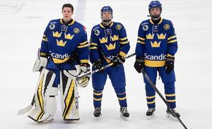 Västeråsarna Jesper Wallstedt, Oscar Hagman och Lucas Ramberg i i U16-landslaget 2017.