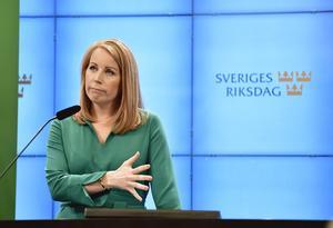 Annie Lööf  (C) på pressträffen när landsbygdssatsningen presenterades. I den ingår även ersättning för vårdmoms, satsningar mot skogsskador, pengar till nattåg med mera. Foto: Stina Stjernkvist / TT