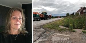 Ann Persson vill att omledningen till väg 583 ska uppmärksammas. Hennes sovrumsfönster ligger cirka 25 meter från vägen där numera tung trafik åker. Foto: Privat.