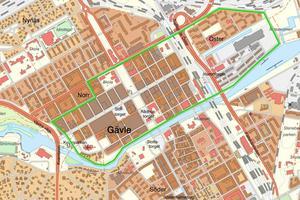 Den gröna markeringen markerar var det brann. Det var också så stor som Gävles centrala stad var vid tidpunkten.
