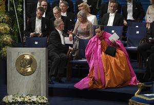 Sara Danius vid  Nobelprisutdelningen i Konserthuset i Stockholm på måndagen.Foto: Pontus Lundahl / TT