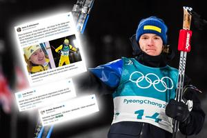 Sebastian Samuelsson hyllas i sociala medier. Bild: Jon Olav Nesvold/Bildbyrån/Montage