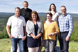 Tobias Forngren, Kåre Olsson, Susanne Niklasson, Åsa Hult och Mikael Thalin firade när projektet lanserades i Skattungbyn.